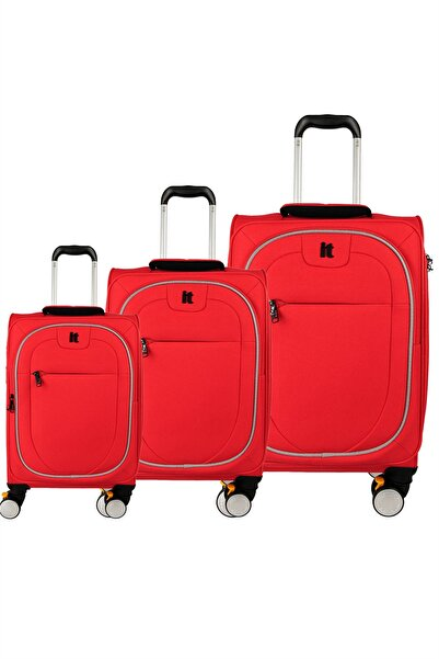 IT LUGGAGE 02228 Kırmızı 3 Lü Set Kumaş Valiz