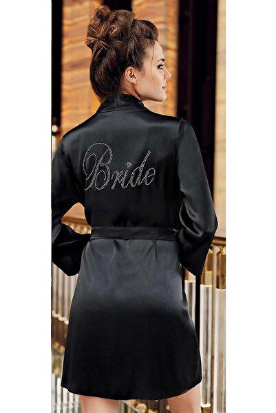 İmaj Kadın Siyah Bride Baskılı Sabahlık