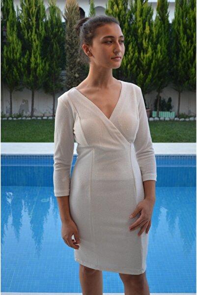 zeynep Kadın Beyaz Ön Kruvaze Simli Elbise