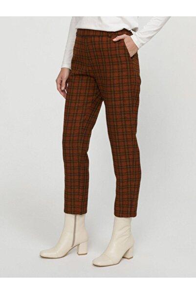 Xint Kadın Kahverengi Ekoseli Bel Lastikli Rahat Kesim Pantolon