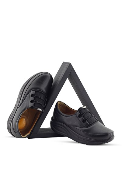 Barmea Siyah Ortopedik Topuk Dikeni Kadın Hafif Yürüyüş Ayakkabısı