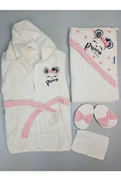 Miniworld Kız Bebek Pembe Bornoz Set