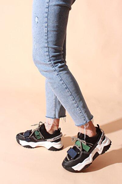ROVIGO Kadın Siyah Suet Multi  Spor Ayakkabı