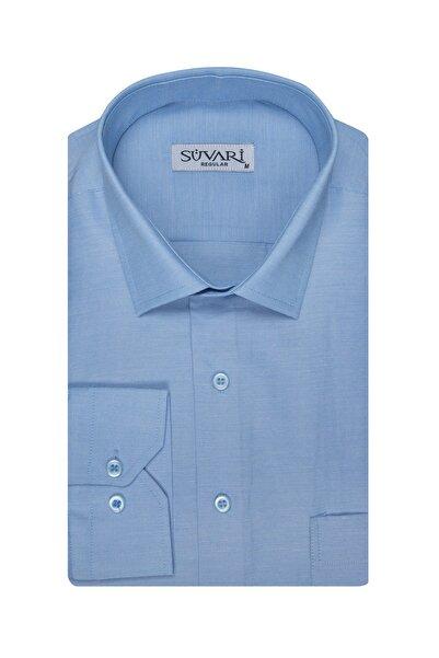SÜVARİ Erkek  Buz Mavi Düz Cepli Gömlek