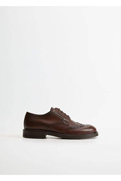MANGO Man Erkek Orta Kahverengi Lazer Kesimli Blucher Ayakkabı 77042903
