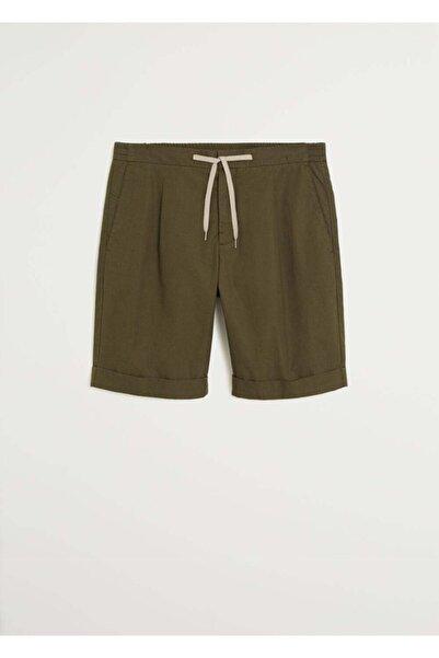 MANGO Man Erkek Haki Renk Beli Elastik Pamuklu Bermuda Şort 67067639