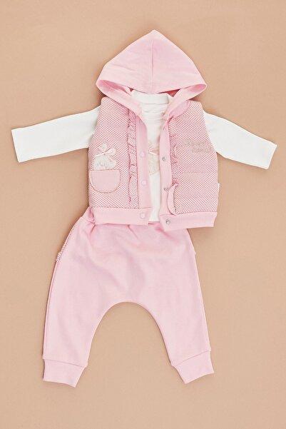 Fulla Moda Kız Bebek Pembe Yelekli 3'lü Takım