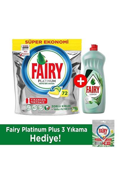 Fairy Platinum 72 Yıkama Bulaşık Makinesi Deterjanı Kapsülü + 750ml Losyon Bulaşık Deterjanı