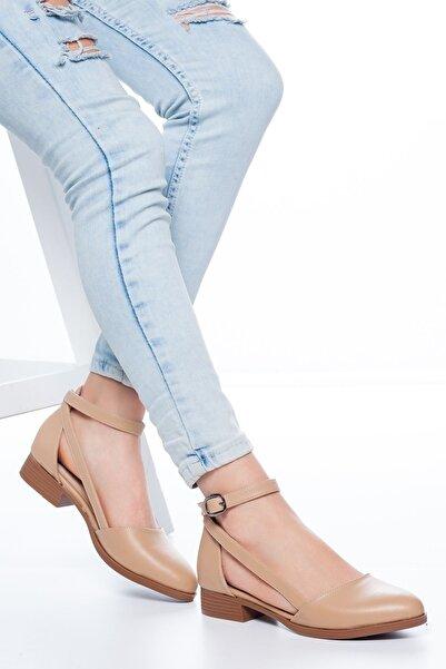 MaskButik Kadın Ten Rayna Kısa Topuk Cilt Ayakkabı