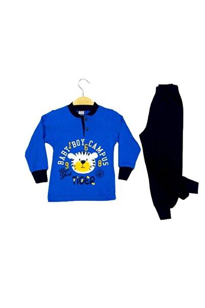 Tarık Erkek Çocuk Mavi Baskılı Pjama Takımı