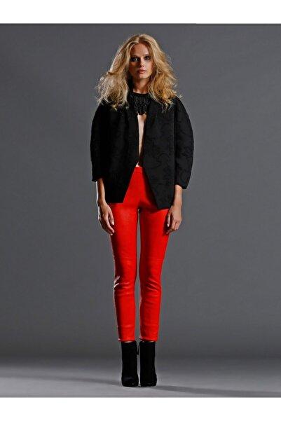 Vekem Kadın Kırmızı  Yanı Beyaz Şeritli Hakiki Deri Pantolon