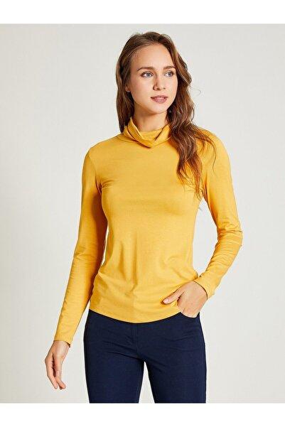 Vekem Kadın Sarı Dik Yaka Uzun Kol Bluz