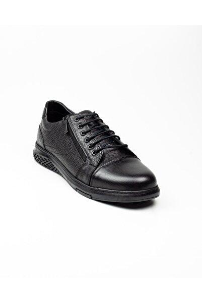 Nobel Erkek Siyah Bağcıklı Yan Fermuarlı Deri Günlük Ayakkabı