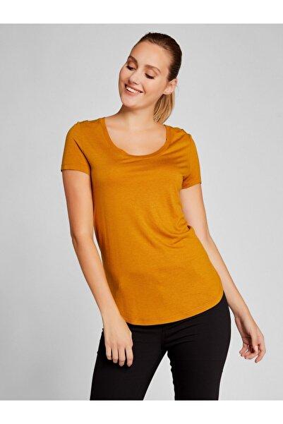 Vekem Kadın Hardal Sarısı Sıfır Yaka Yünlü Basic Bluz 6207-0005