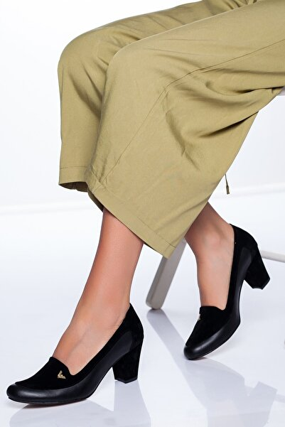 VİVA Kadın Siyah Cilt Topuklu Ayakkabı