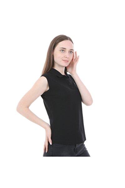 Kappa Kadın Siyah Kolsuz Polo Yaka T-shirt