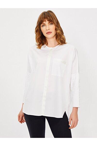 Vekem Kadın Beyaz Hakim Yaka Rahat Kalıp Pamuk Gömlek