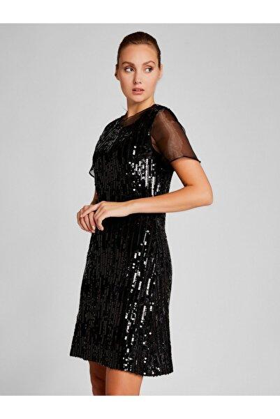 Vekem Kadın Siyah Organze Detaylı Pul Payetli Elbise