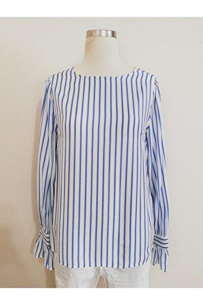 Vekem Kadın Mavi Beyaz Çizgili Sıfır Yaka Uzun Kol Çizgili Bluz 9107-0153
