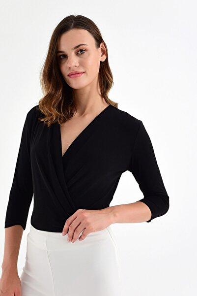 Laranor Kadın Siyah Alttan Çıtçıtlı Kruvaze Bluz