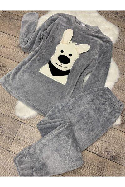 Sude Kadın Gri Uzun Kollu Peluş Pijama Takımı
