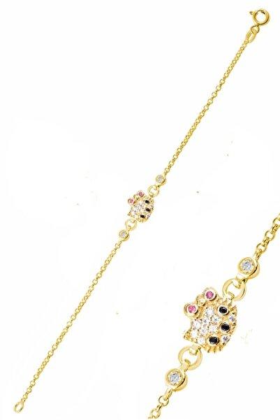 Trend Silver 925 Ayar Gümüş Kız Çocuk Ve Bebek Bilekliği Kedi Modeli Altın Rengi Zirkon Taşlı Bileklik