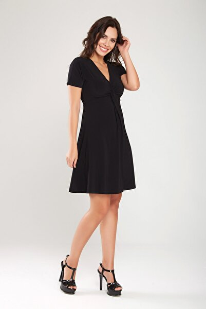 Laranor Kadın Siyah Burgu Detaylı Elbise
