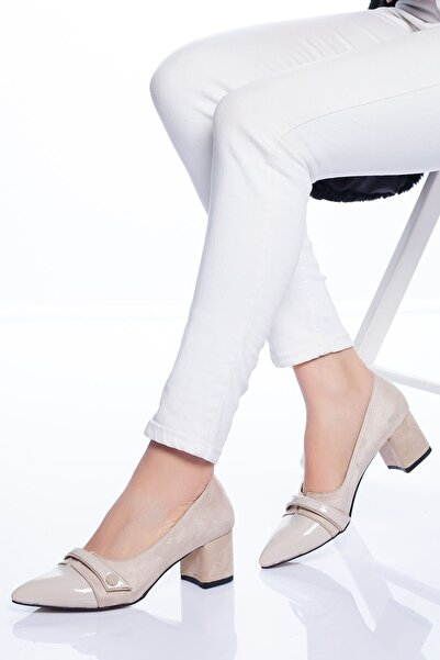 VİVA Kadın Ten Süet Rakita Topuklu Ayakkabı