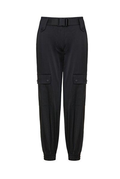 Nocturne Kadın Siyah Saten Görünümlü Kargo Pantolon