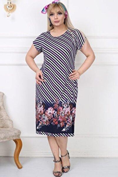 Kadın Büyük Beden Elbise Kısa Kollu Çizlili ve Çiçek Desenli Diz Altı Lila Lines