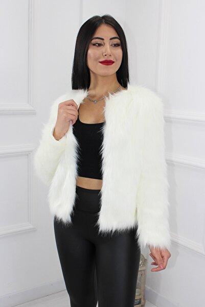 UGİMPOL Kadın Beyaz Kısa Kürk Ceket