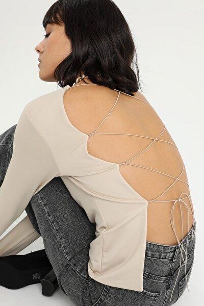 LAMODEMAPASS Kadın Bej Sırt Detaylı Uzun Kollu Bluz