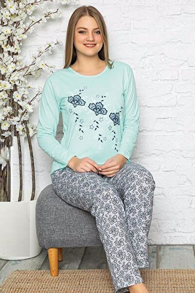 Pijamanya Kadın Mint Yeşili Çiçek Baskılı Desenli Uzun Kollu Pijama Takımı