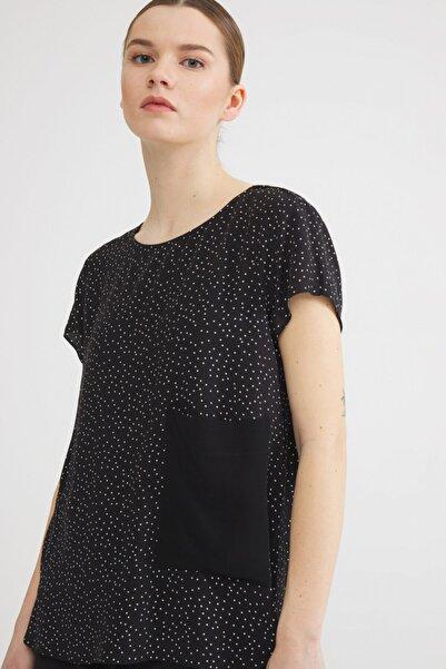 Love My Body Kadın Siyah Desenli Bluz