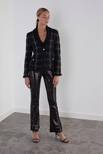 JOIN US Kadın Siyah Taş Düğmeli Simli Triko Ceket