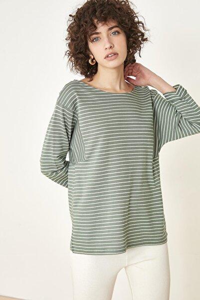 AURIC Kadın Açık Yeşil Çizgili Bluz