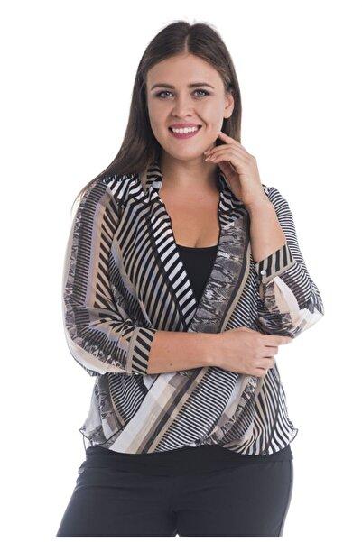 MYLİNE Kadın Beyaz Desenli Kruvaze Şifon Bluz