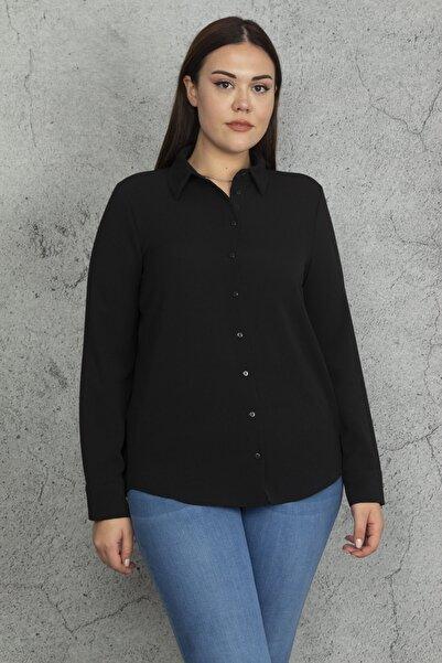 Şans Kadın Siyah Klasik Gömlek 65N20538