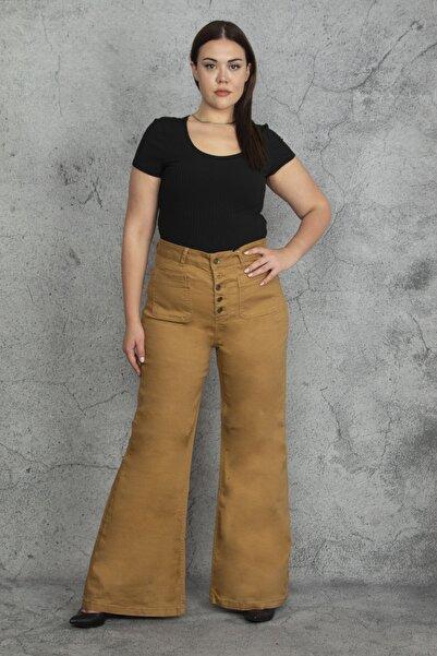 Şans Kadın Camel Yüksek Bel Geniş Paça Cep Ve Düğme Detaylı Pantolon 65N20540