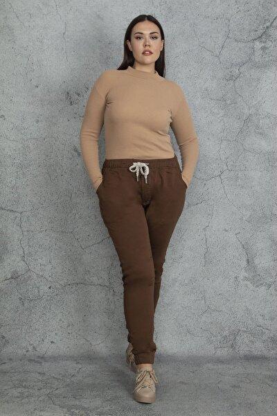 Şans Kadın Kahve Paça Ve Bel Lastikli Bağcık Detaylı Gabardin Kumaş Pantolon 65N20542
