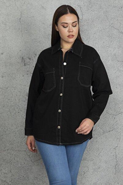 Şans Kadın Siyah Tensel Kumaş Kontrast Dikiş Detaylı Gömlek 65N20500