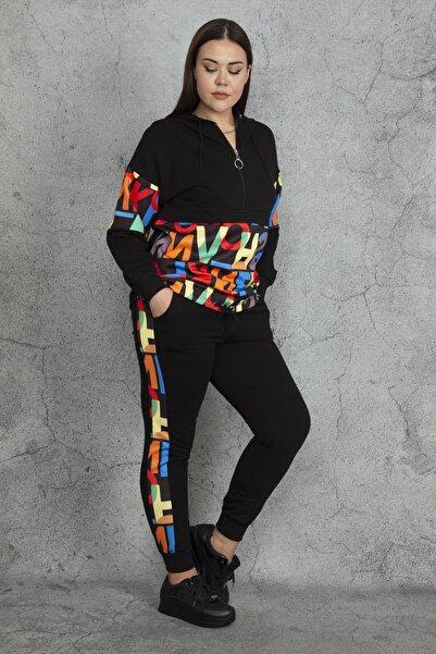 Şans Kadın Siyah Kapüşonlu Sweatshirt Pantolon Takım 65N20644