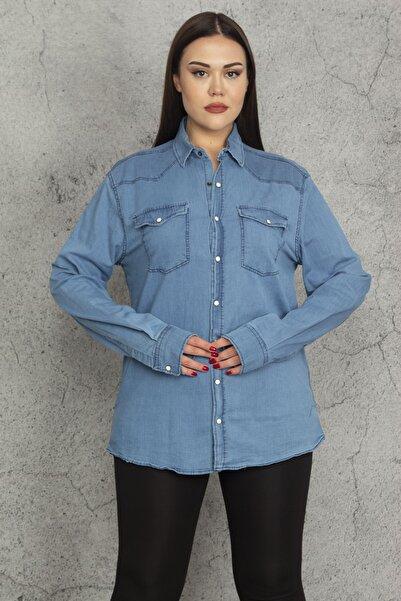 Şans Kadın Mavi Çıtçıt Düğmeli Tensel Kot Gömlek 65N20261