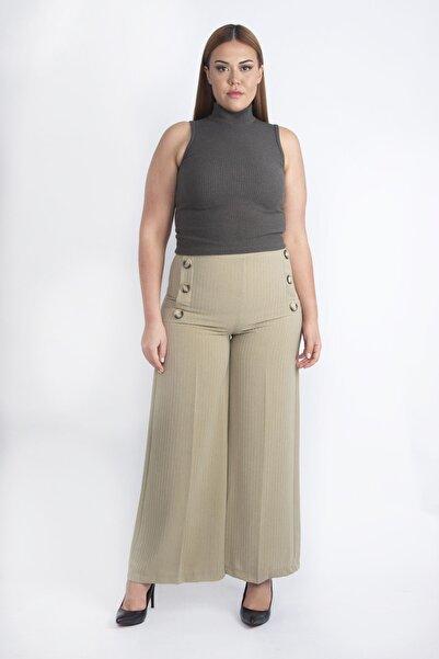 Şans Kadın Yeşil Süs Düğmeli Geniş Paçalı Pantolon 65N20257