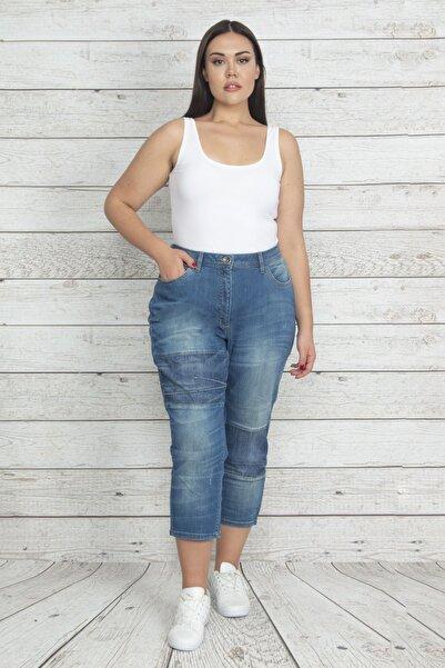 Şans Kadın Mavi Dikiş Detaylı Yıkama Efektli Bilek Boy Kot Pantolon 65N20236