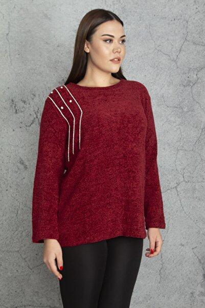 Şans Kadın Bordo Taş Detaylı Şöni Kumaş Bluz 65N20578