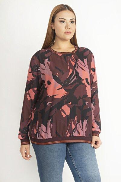 Şans Kadın Renkli Sim Ribana Detaylı Krep Şifon Bluz 65N20231
