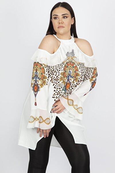 Şans Kadın Kemik Omuz Dekolteli Taş İşli Bluz 65N20618