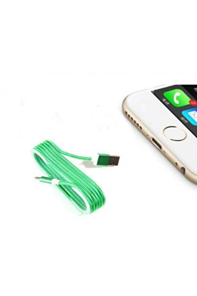 Go İthalat Iphone Örgü Şeklinde Renkli Çelik Şarj Data Kablosu - Yeşil