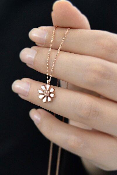 Elika Silver Kadın Rose Kaplama Mineli Papatya Model 925 Ayar Gümüş Kolye